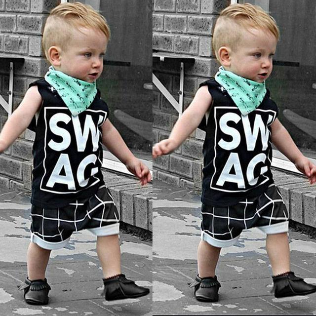a2505ffa0 2016 Children Sets Baby SWAG Baby 2pcs NEW Boys Kids Sleeveless  T-shirt+Pants