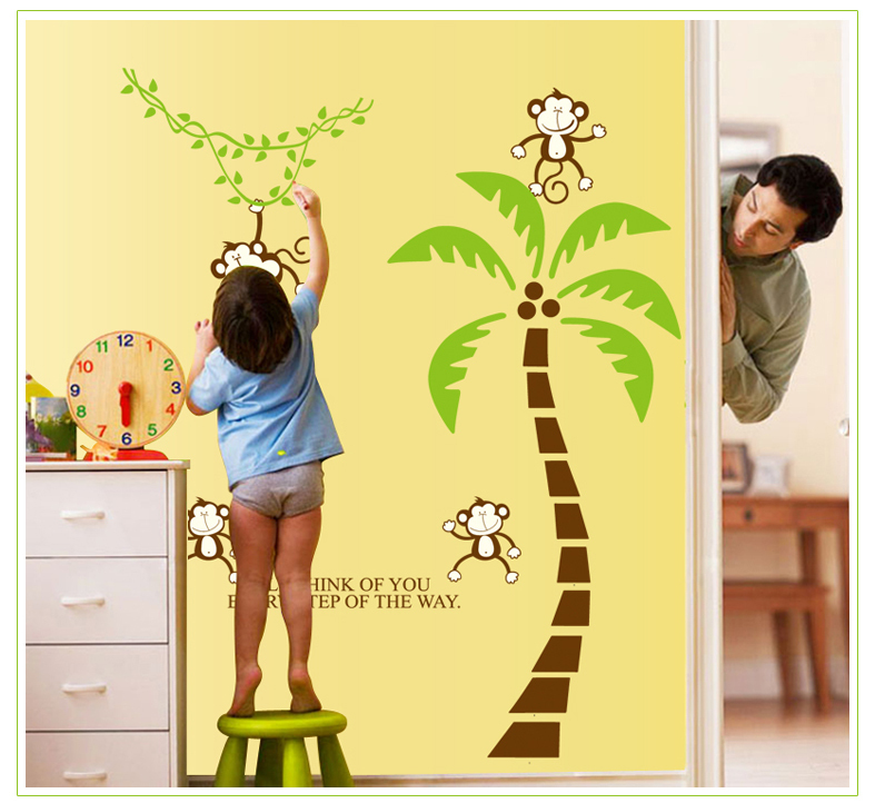 Cartoon wall decorative stickers large size children\'s coconut trees ...