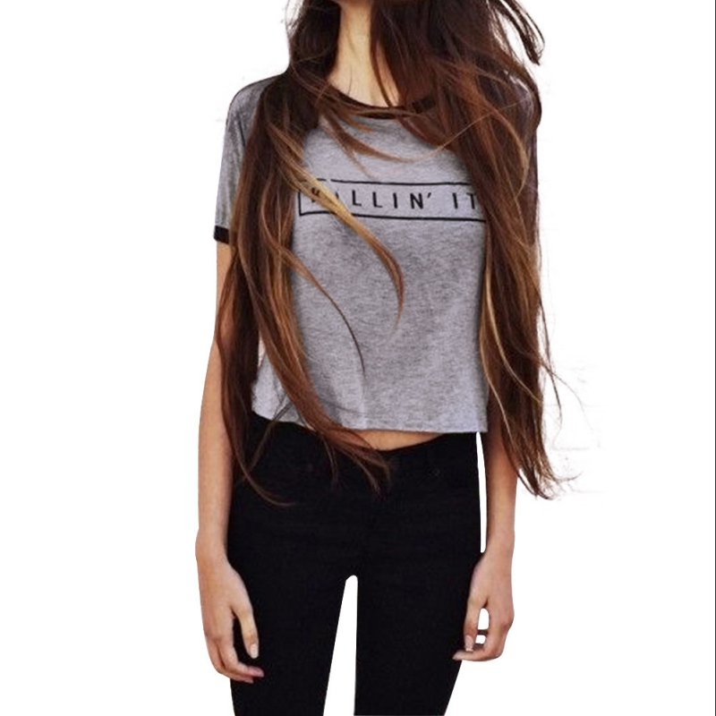Summer Women Letter Print Clothes Oversize Short Sleeve Casual Cotton Loose T-shirt Tops