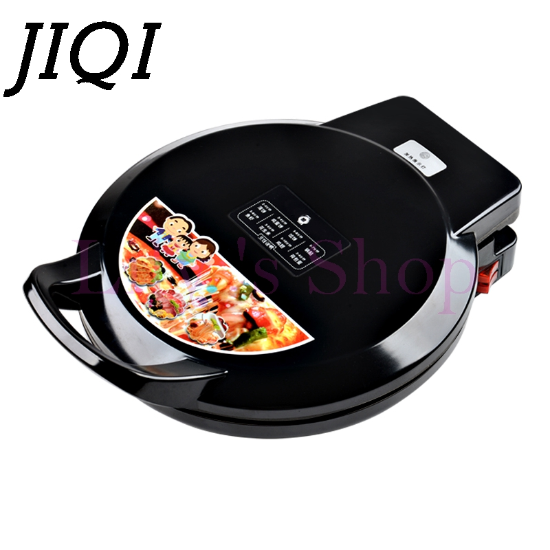 JIQI Electric Crepe Makers hover grill Griddle waffle Pizza Machine Pancake baking pan frying Machine cooking tools 1100w EU US jiqi electric baking pan double side heating household cake machine flapjack pizza barbecue frying grilling plate large1200w