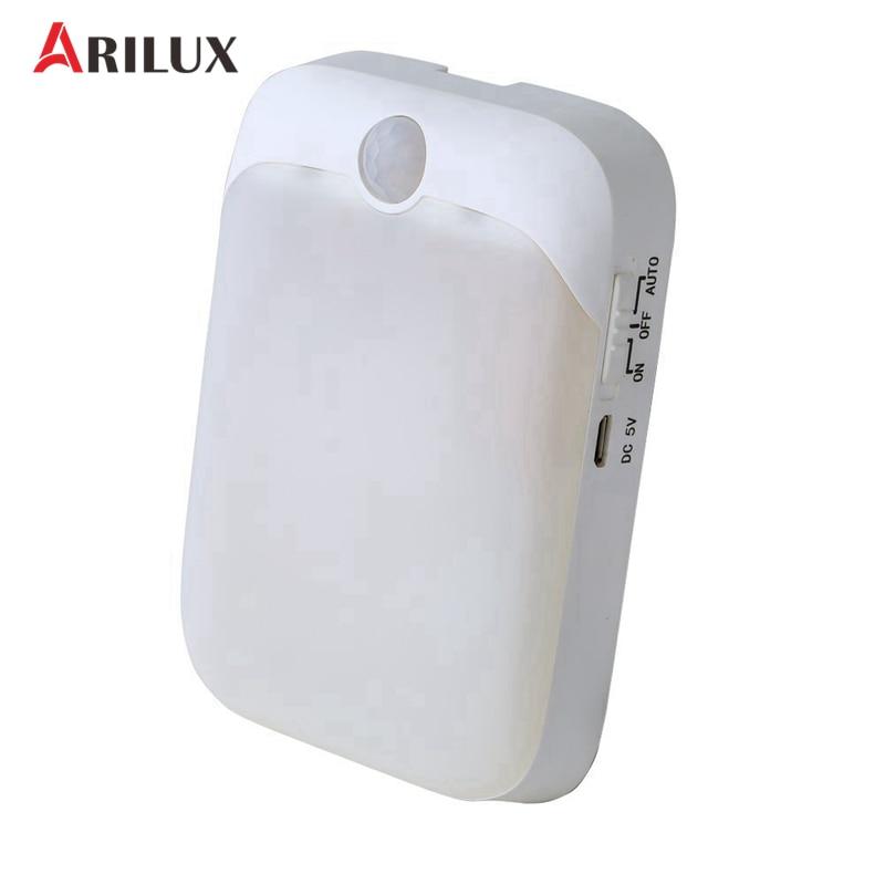 ARILUX Night Lights Sensor Light PIR Motion Sensor DC5V 6 LED Night Lamp USB Rechargeable Wall Light For Indoor Closet Cabinet