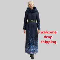 DF High Quality Cotton Wool Big Coat Women Printed Flowers Winter Navy Parka Plus Size X long Jacket Warm With Belt Cap 1037