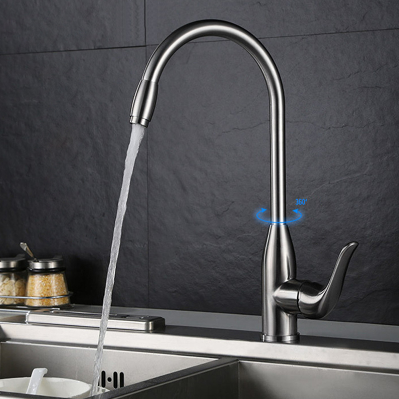 Brushed Kitchen Faucet Basin Modern Kitchen Mixer Tap 304 Stainless Steel  360 Rotate Hot Cold  Faucet Taps