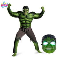 NoEnName Free Shipping New Avengers Hulk Costumes For Kids Fancy Dress Party Cosplay Boy Kids Clothing