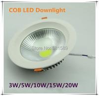 20 unids/lote envío gratis AC90v-220V COB 20 W LED Downlight Epistar Chip 100-110 lm/W caliente blanca/ blanco frío