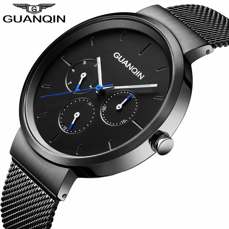 Top Brand GUANQIN Luxury Mens Watches Week Date Clock Stainless Steel Mesh Watchband Black Men Quartz Watch relogio masculino guanqin gq12002 relogio masculino luxury brand watch fashion quartz watches men stainless steel relojes clock