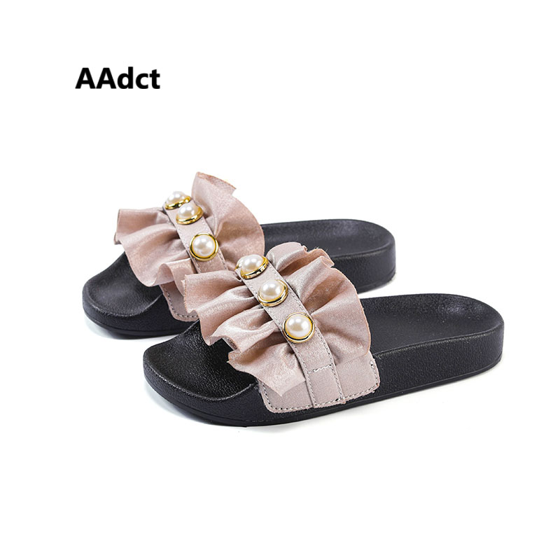 AAdct summer princess little girls slippers 2018 new kids slippers for girls home children shoes Pearl toddler baby soft sole ...