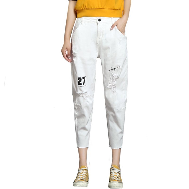 Summer Thin White Destroyed Jeans Woman Calf Length Pants Women Loose Harem Pants Trousers Denim Summer Jeans Boyfriend Big Size
