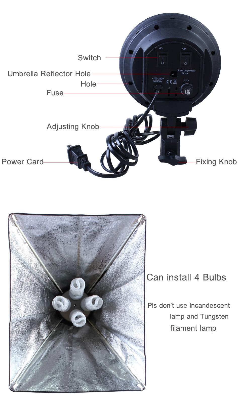 pces softbox 4-soquete do suporte da lâmpada