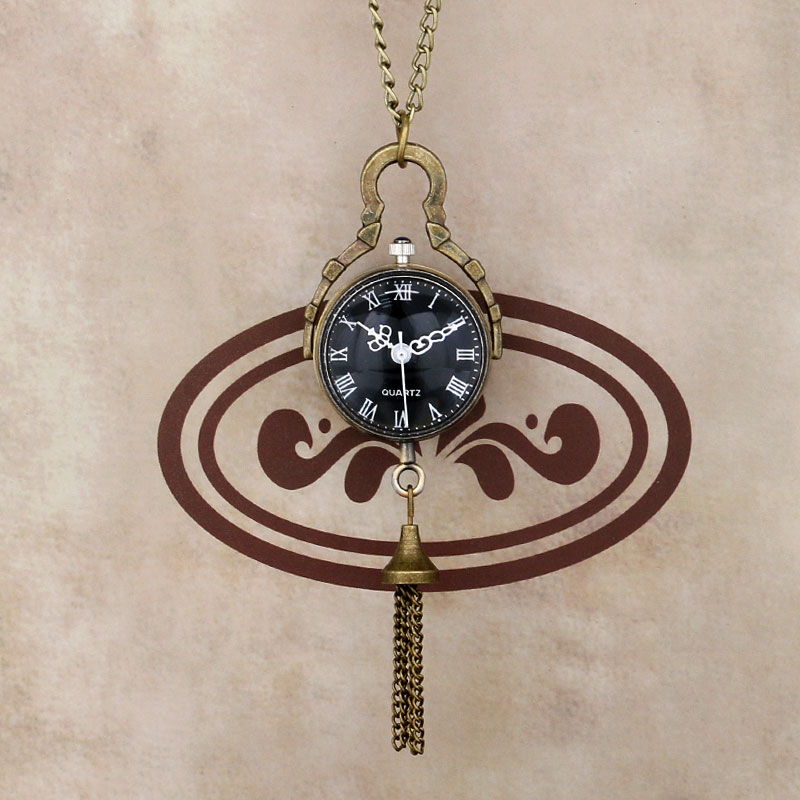 Vintage Retro Fish Eye Black Dial Glass Ball Steel Tassel Quartz Pocket Watch Women Men Necklace Pendant Reloj De Bolsillo P12
