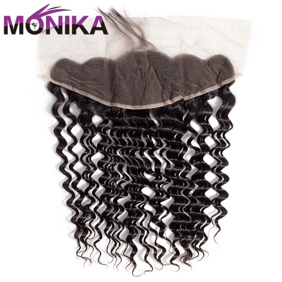 Monika Hair Deep Wave Frontal Closure 13*4 Ear To Ear Lace Closure Malaysian Deep Non-Remy Human Hair Extension Natural Color