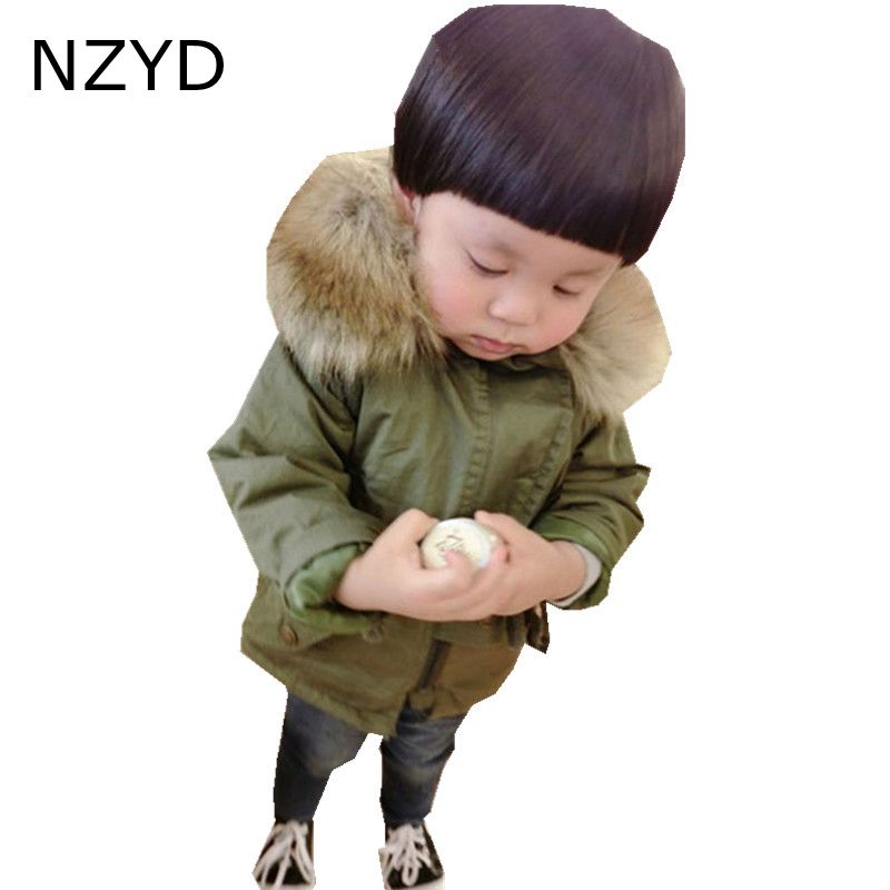New Fashion Winter Cotton-Padded Clothes Boy Coat 2017 Children Army Green Jacket Coat Casual Warm Kids Clothes DC639  free shipping winter new children s wear patch splicing shoulder button boy cotton padded clothes child quilted jacket