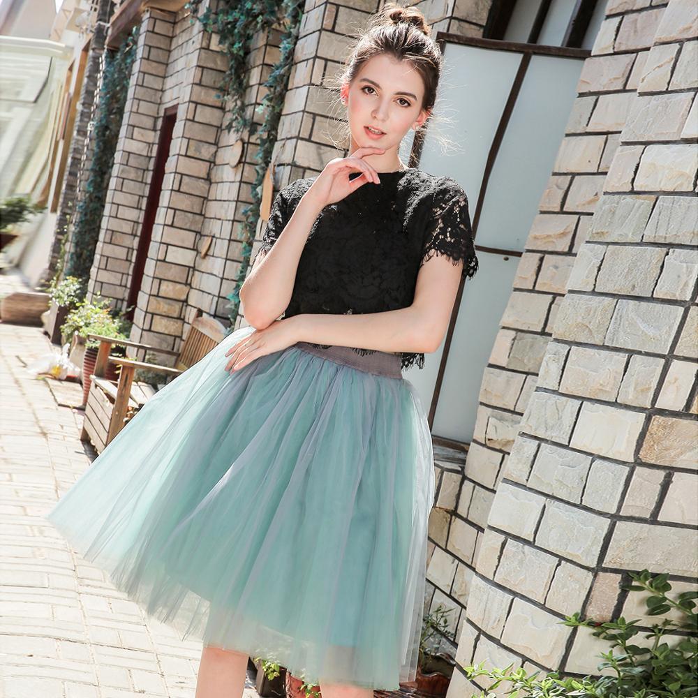 7 Layer 60cm Tulle Skirt Women  Summer A-line Midi Skirts Female High Waist Tutu Pleated Skirts For Women School Sun Skirt