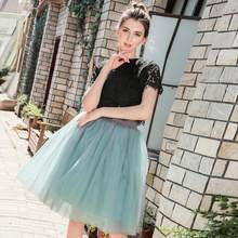 7 Layer 60cm Tulle Skirt Women Summer A-line Midi Skirts Female High Waist Tutu Pleated Skirts For Women School Sun Skirt(China)