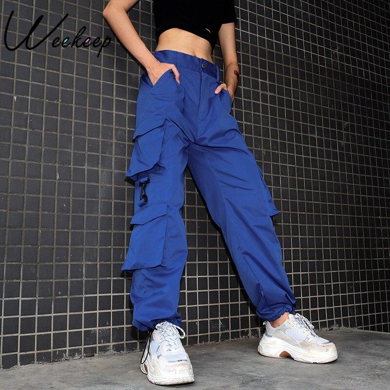 Weekeep Delle Donne A Vita Alta Pantaloni Cargo Blu di Modo Allentato Tasche Dei Pantaloni Delle Donne Streetwear Patchwork Matita Pantaloni di Sudore Fondo