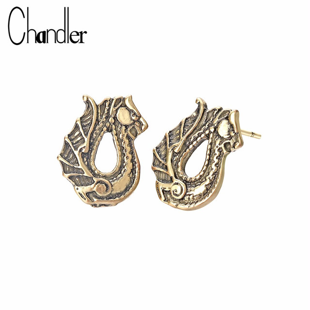 US $1.94 |Aliexpress.com : Buy Chandler Dragon Earrings For Women Gothic  Punk Dragon Stud Viking Animal Amulet Piercing Earring European Retro  Outdoor ...