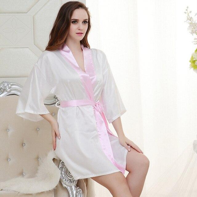 Ladies Silk Satin Short Kimono Night Gown 4