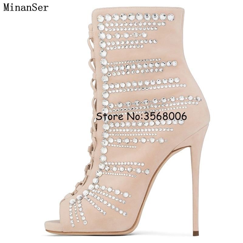 Hauts bleu Cheville Lacent Toe Bottes Strass Style Peep Mince Cristal Chaussures Sandale Sexy Noir Talons Nouveautés pu Gladiateur Ciel Dame TXx6z5qSXn