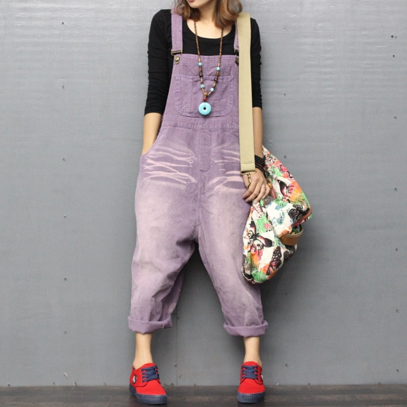 Hip Hop Autumn Women Corduroy Jumpsuits Vintage Loose Thick Warm Overalls Punk Streetwear Suspenders Pants Rompers A72108