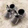 Plata Mary Jane Infantil Mocasines Zapatos de Bebé de Cuero Genuino