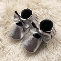 Silver Mary Jane Infant Moccasins Genuine Leather Baby Shoes