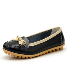 New 2015  Women Genuine Leather Mother Shoes Woman Flats Non-slip Autumn Female Shoes Free Shipping,655