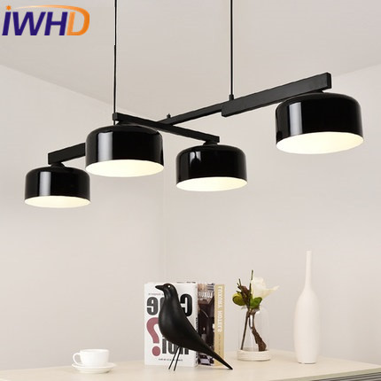 IWHD Iron pendant Lamp LED Creative Black White Modern Pendant Lights Nordic Style Restaurant Bedroom Lamparas Kitchen Hanglamp modern lounge pendant lights white black iron restaurant kitchen light bird cage lamps home indoor crystal pendant lamp lamparas