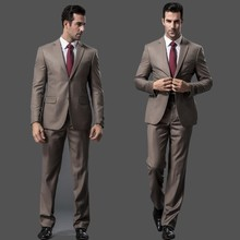 Männer anzug Sets Slim Fit Smoking Formelle Mode anzug Marke Blazer Hochzeitsanzug Für Männer khaki farbe zwei stück