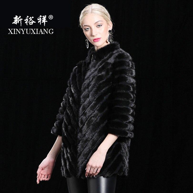 Length Naturel Hiver length Véritable Xinyuxiang En Chaud Vison 70cm Femelle De Bande 90cm Épais Femmes Cuir Pour Outwear 70 Vestes Cm Manteaux Fourrure Réel nnfqxRFCW
