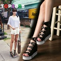 2017 New Arrival Spring European Fashion Super High Heel Rivets Lady Wedge Shoes OpenToe Zil Sandals Size 34-39 B031