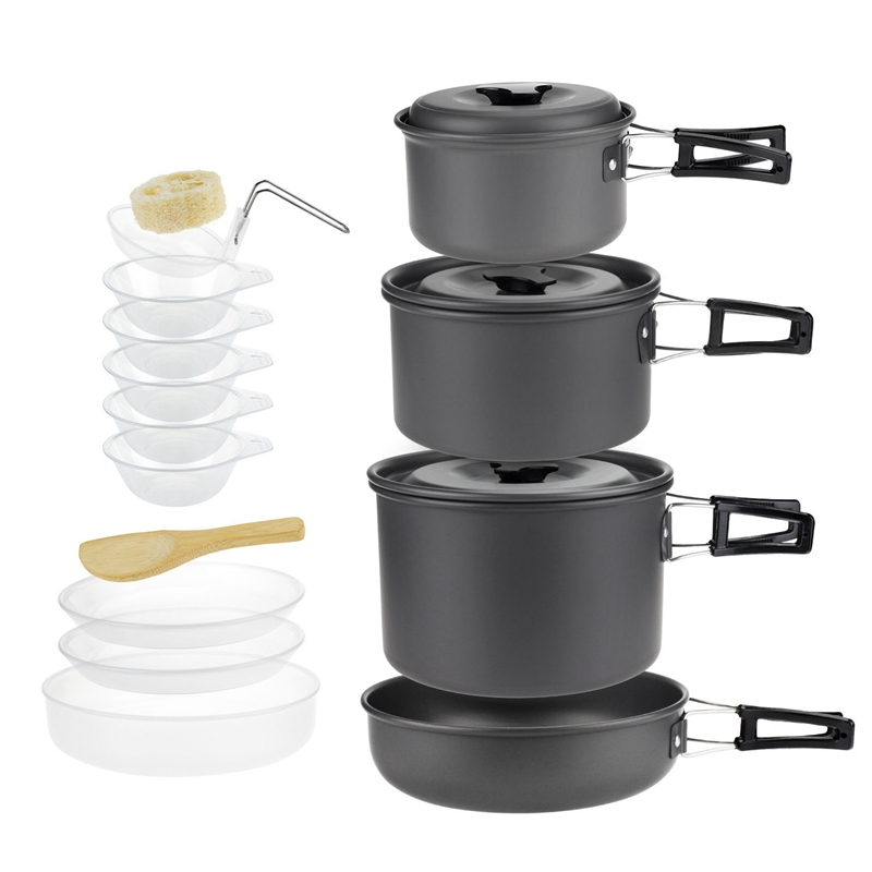 Aluminium Alloy Camping Pot Set 5 Person Outdoor Cookware For Camping Hiking Picnic Utensil With Tableware