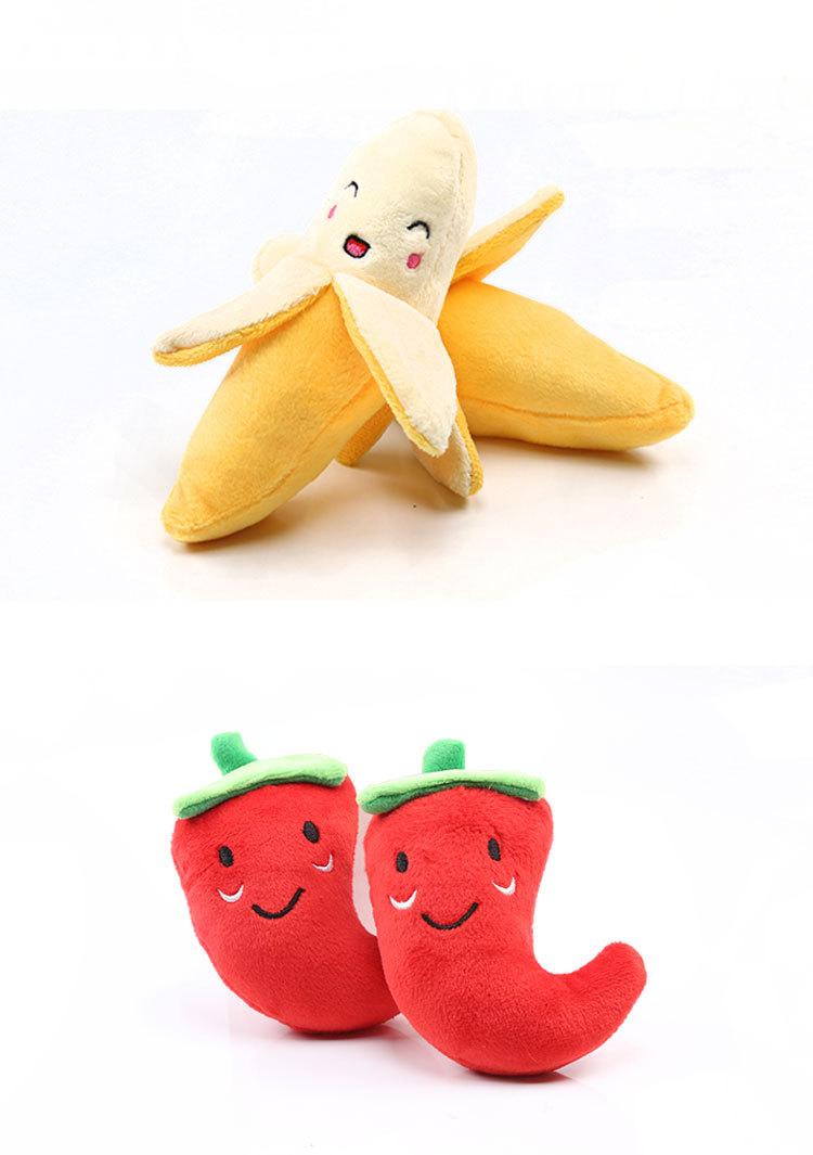Coloridos juguetes chirrantes de frutas para mascota 2