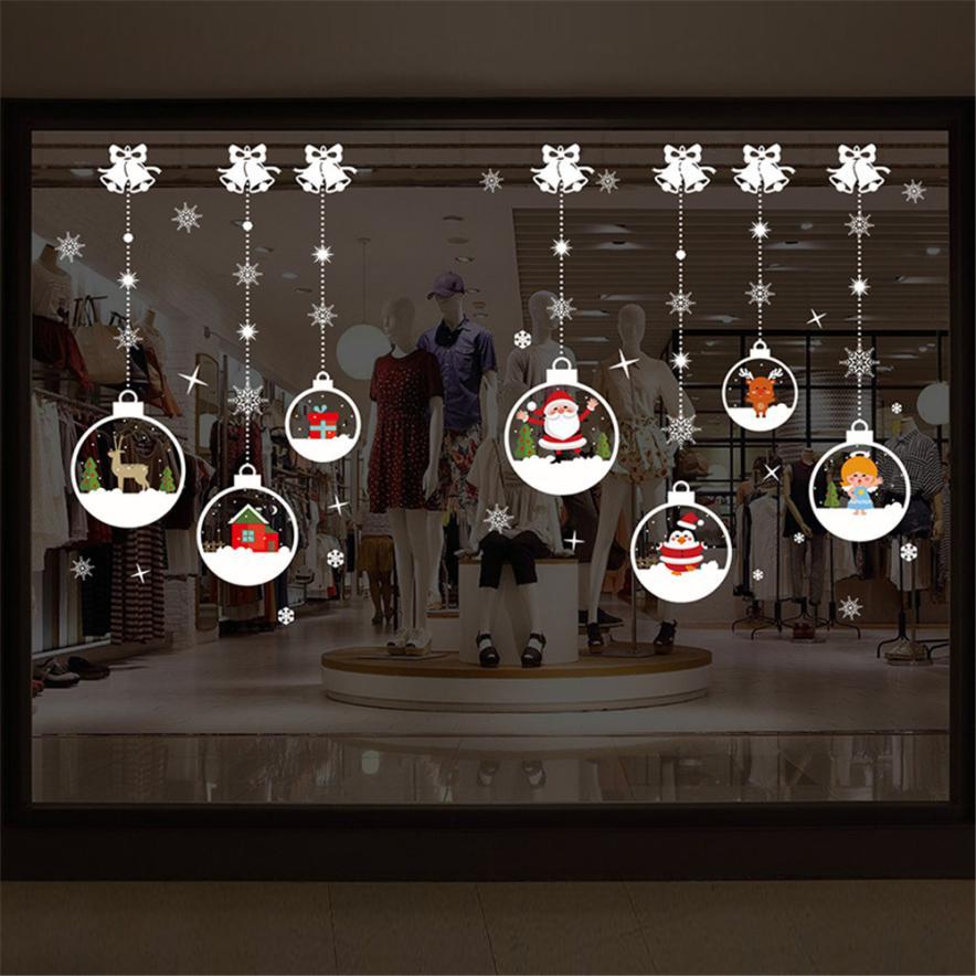 2018 Merry Новогодние товары бытовой стены комнаты Стикеры Фреска Декор пропуск съемный Рождество наклейки Adesivo де Parede OC20