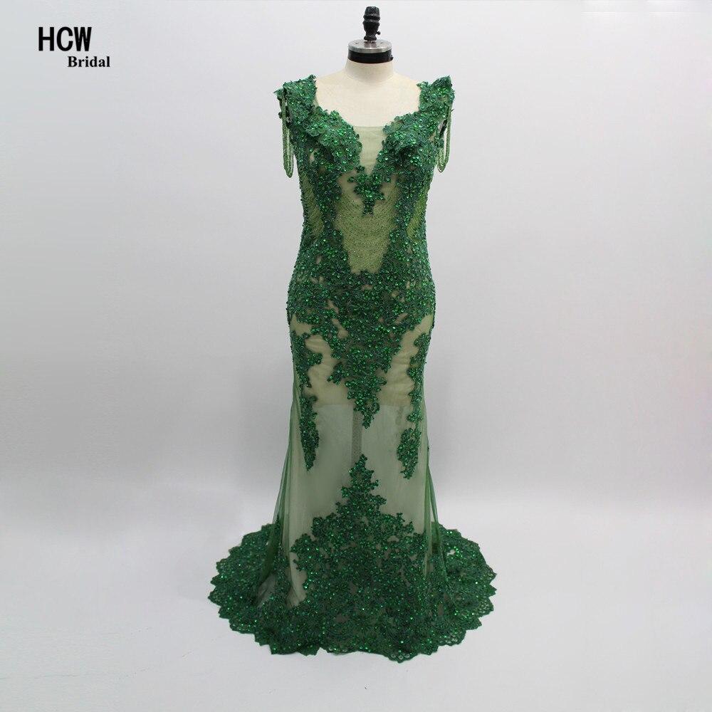 Секси зелена илюзия Вижте през русалки абитуриентски рокли 2019 Луксозни мъниста дантела отворени назад дълги абитуриентски рокли Специални поводи рокли
