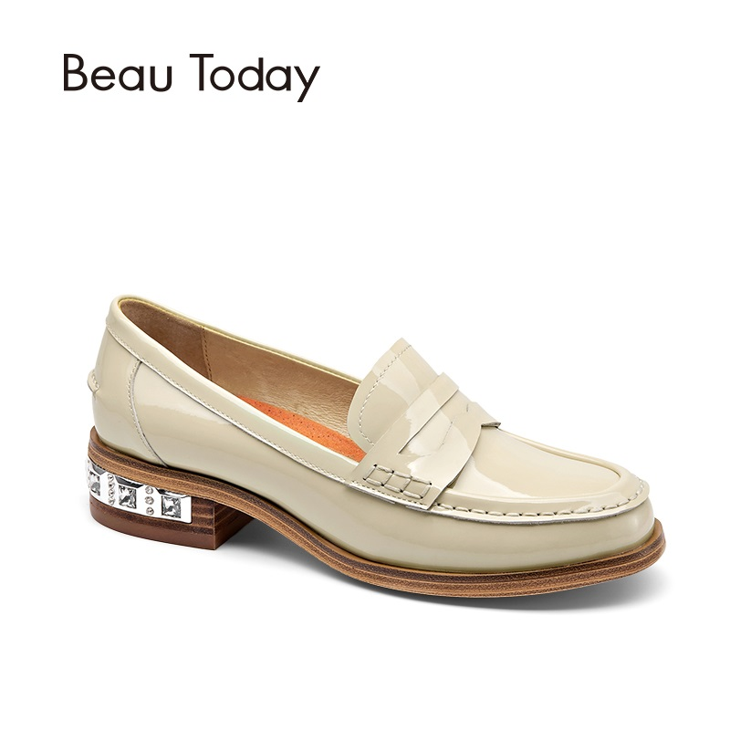 BeauToday Penny Loafer Women Genuine Leather Shoes Moc Toe Slip On Casual Fashion Shoes Patent Leather Flats 27034
