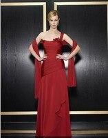 Livraison gratuite maxi formelle robe 2018 nouveau design robes de festa rouge en mousseline de soie longue plus la taille parti élégant robes de mariée