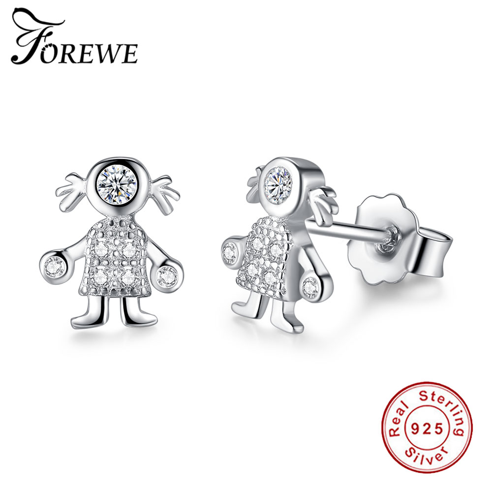 FOREWE CZ Girl Jewelry 925 Sterling Silver Cute Stud Earrings for Women Girls Cubic Zirconia Earring Tiny Jewelry Christmas Gift
