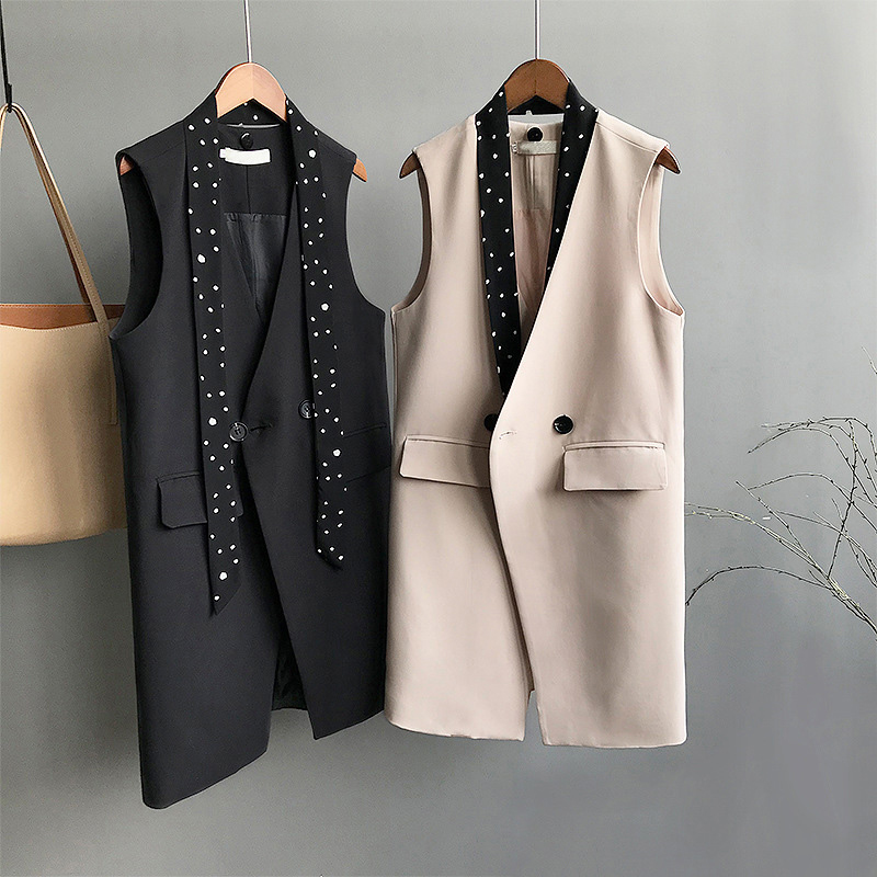 Women's Vest Sleeveless Long Coat OL Suit Blazer Trench Coat Outwear 2 Colors Women Vests