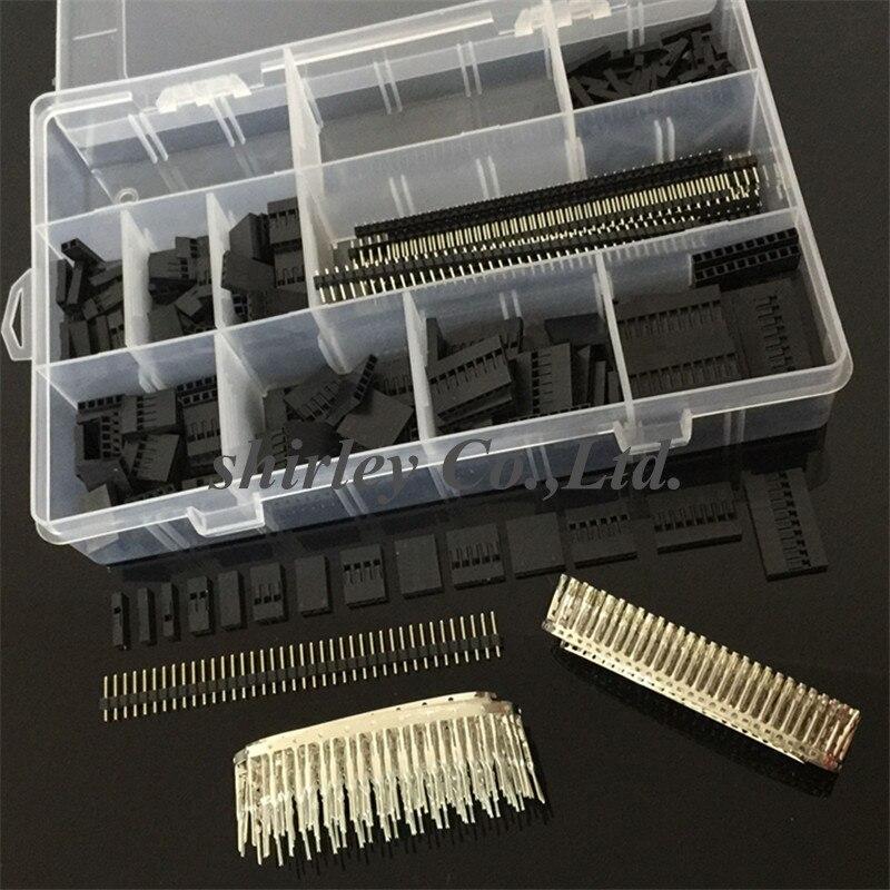 Бесплатная shiiping 1450 шт./компл. комплект коннекторов Dupont 2,54 мм, разъемы PCB для мужчин и женщин, булавки для электроники