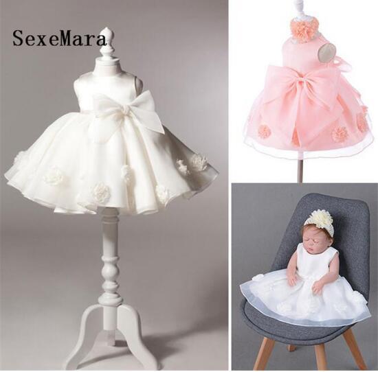 Top qualité Photo réelle bébé filles robe de mariée baptême robes de gâteau pour l'occasion de fête enfants bébé fille 1 an robe d'anniversaire