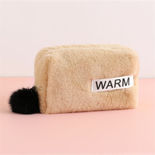 New Plush Cosmetic Bag Women Portable Travel Toiletry Bag Organizer Large Capacity Cute Wash Storage Bag Hairy Makeup Case Pouch недорого