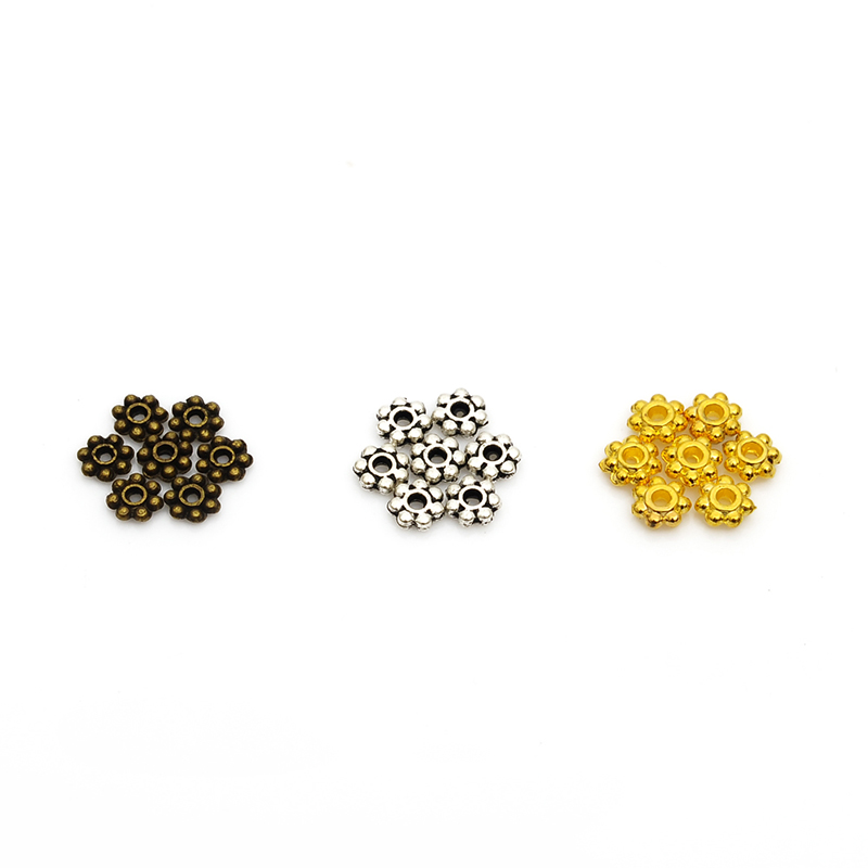 100pcs/lot 4mm Spacers Snowflake Flower Metal Gold-color Tibetan Antique Silver Antique Bronze Spacer Beads For Jewelry Making
