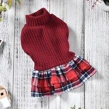Осень зима юбка для собаки продукт Bichon Йоркширский терьер Красный Синий Кот Appparel школьная мода пальто аксессуары