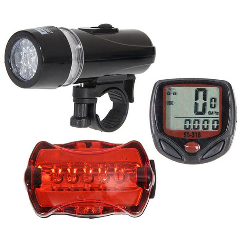 New Cycle Bicycle Waterproof Stopwatch Speedometer + 5 LED Mountain Bike Cycling Headlight Front + Red LED Rear Safety Lamp P40 rear waterproof red