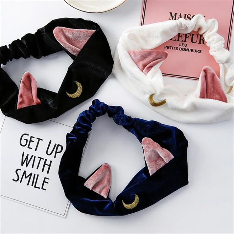 Sailor Moon Luna Cat Ears Hair Band Hair Accessory Headband Anime Cosplay Cute Face Washing Clean Makeup Tool Lolita Headwear