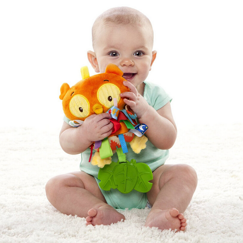Taggies Multi-touch Colorful Owl Tags Baby Toy Rattle Teether Multifunctional Infant Plush Toys  Baby Placate Toy Gifts cute baby kids rattle toys tinkle hand bell multifunctional plush stroller hanging rattles kawaii baby infant toy gifts