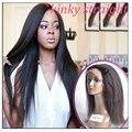 Mejor Sin Cola Brasileño Virginal Recto Rizado Yaki Italiano peluca Del Frente Del Cordón Pelucas Afroamericano Pelucas Llenas Del Cordón Del Pelo Humano