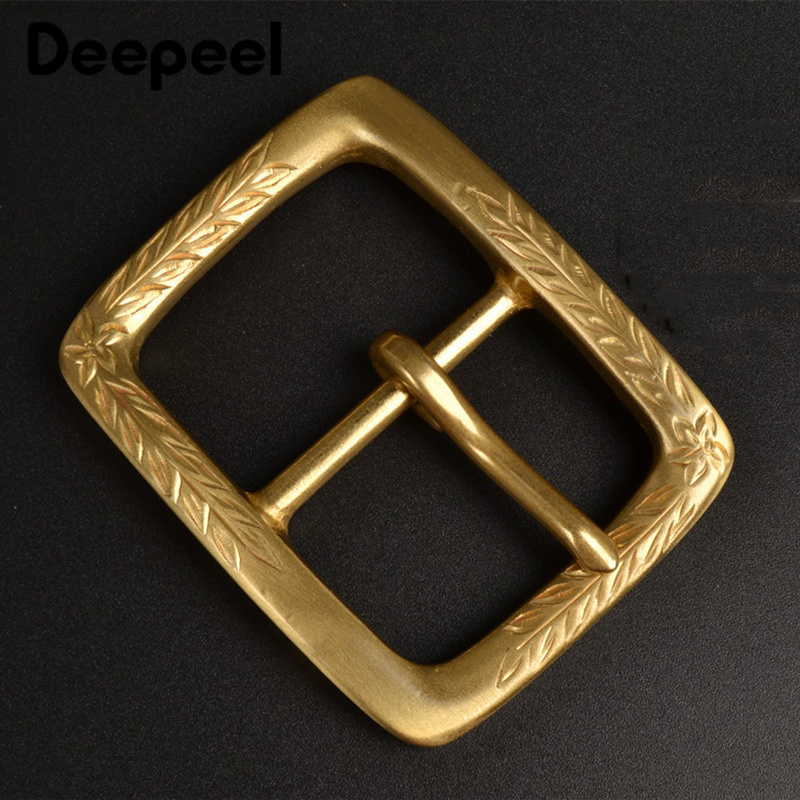 Deepeel 1pc 40*56mm Unisex Pure Copper Pin Belt Buckle Hand-carved DIY High-end Casual Leather Decorative Materials Accessories
