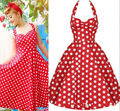 Pin Up Swing Vestidos Polka Dots Women Summer Dresses 2016 Halter Backless 50s Vintage Retro Robe Casual Clothing