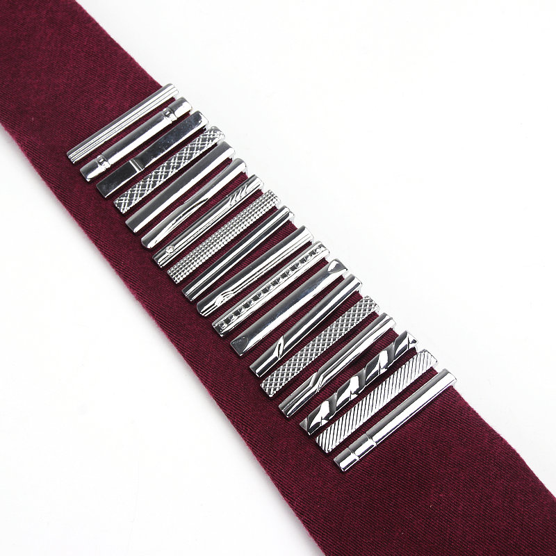 Brand New Formal Men's Metal Fashion Silver Simple Necktie Tie Pins Bar Clasp Clip Accessories For Men's Suits Nice Gift